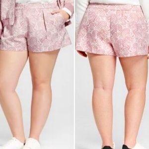 VICTORIA BECKHAM Paisley Pleated Jacquard Shorts